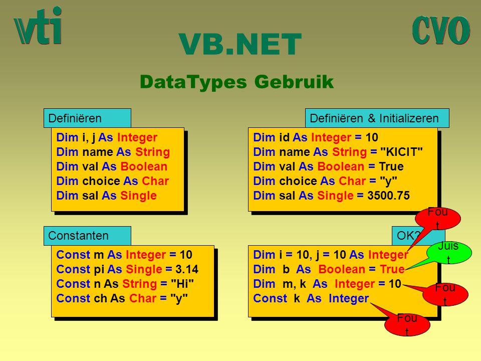 VB.NET DataTypes Gebruik Dim i, j As Integer Dim name As String