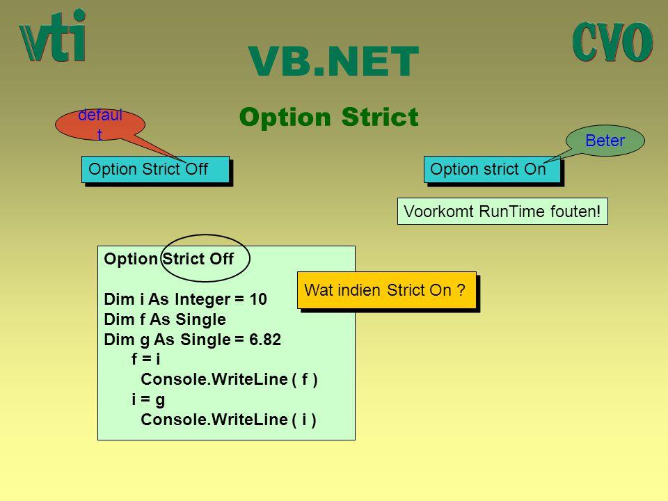 VB.NET Option Strict default Beter Option Strict Off Option strict On