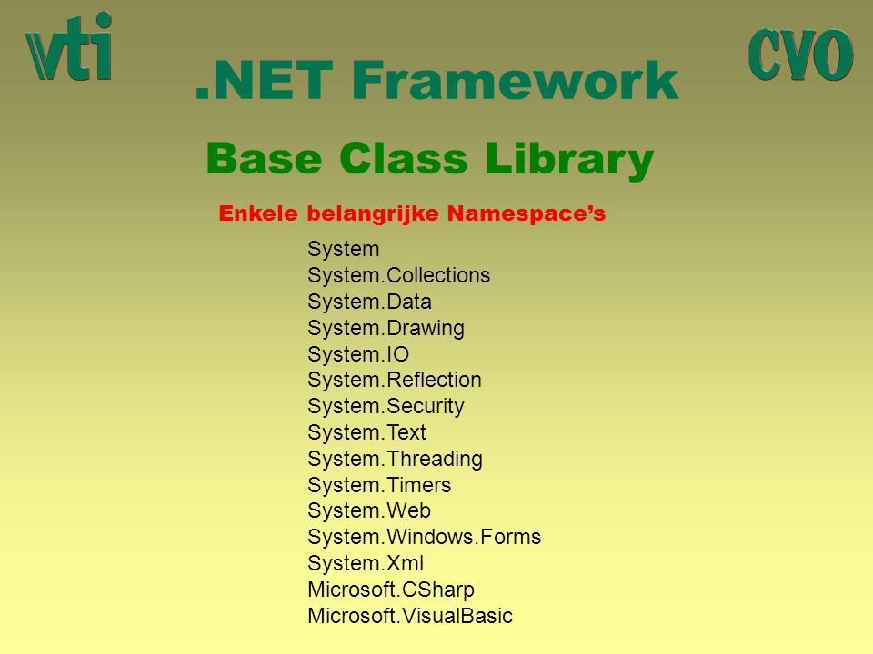 .NET Framework Base Class Library Enkele belangrijke Namespace's