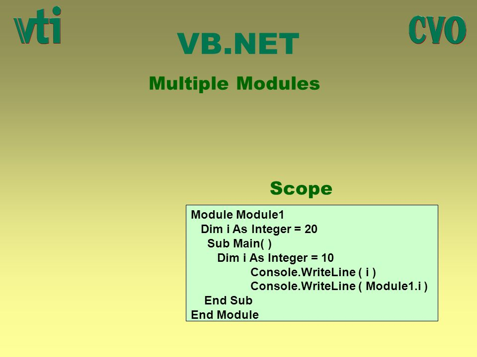 VB.NET Multiple Modules Scope Module Module1 Dim i As Integer = 20