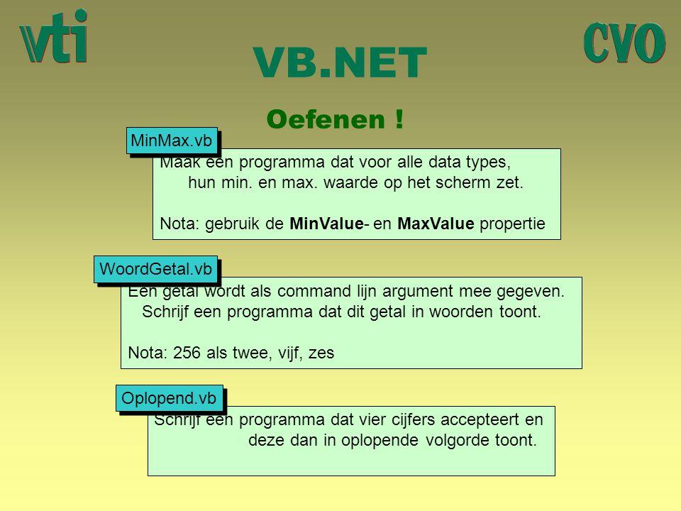 VB.NET Oefenen ! MinMax.vb