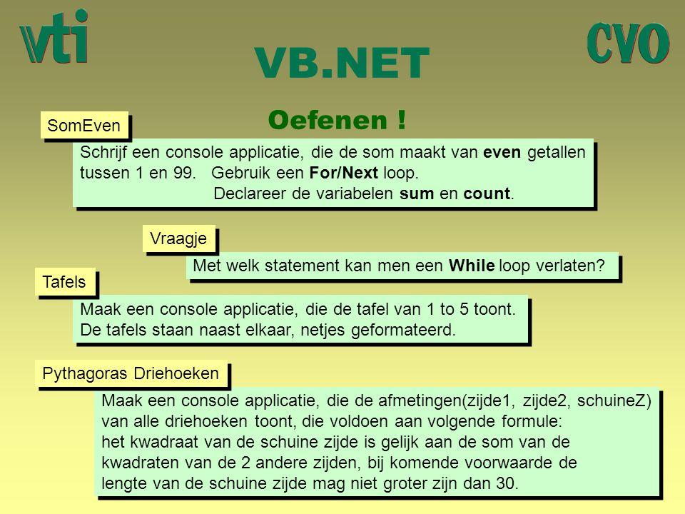 VB.NET Oefenen ! SomEven.