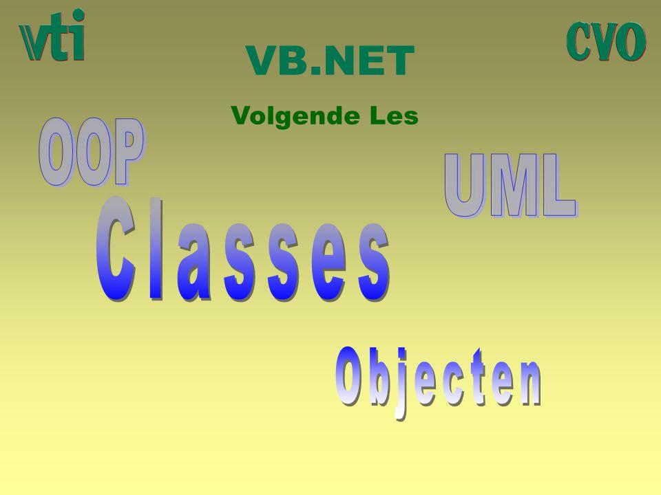 VB.NET Volgende Les OOP UML Classes Objecten