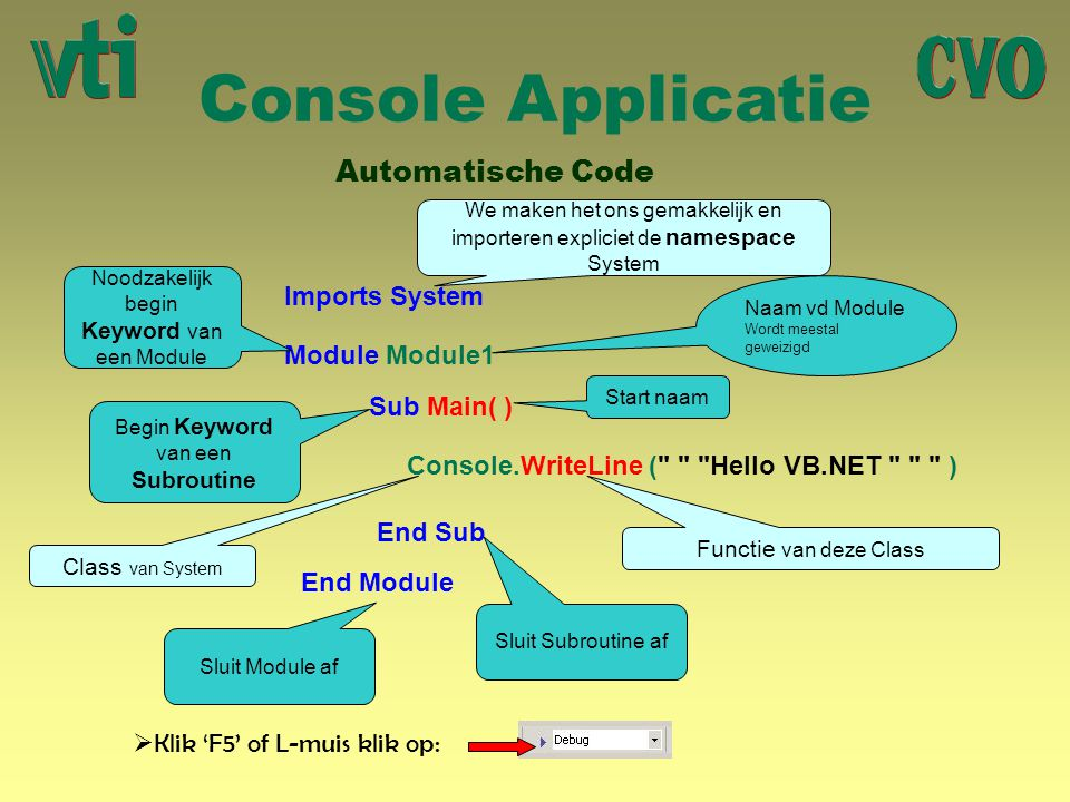Console Applicatie Automatische Code Imports System Module Module1