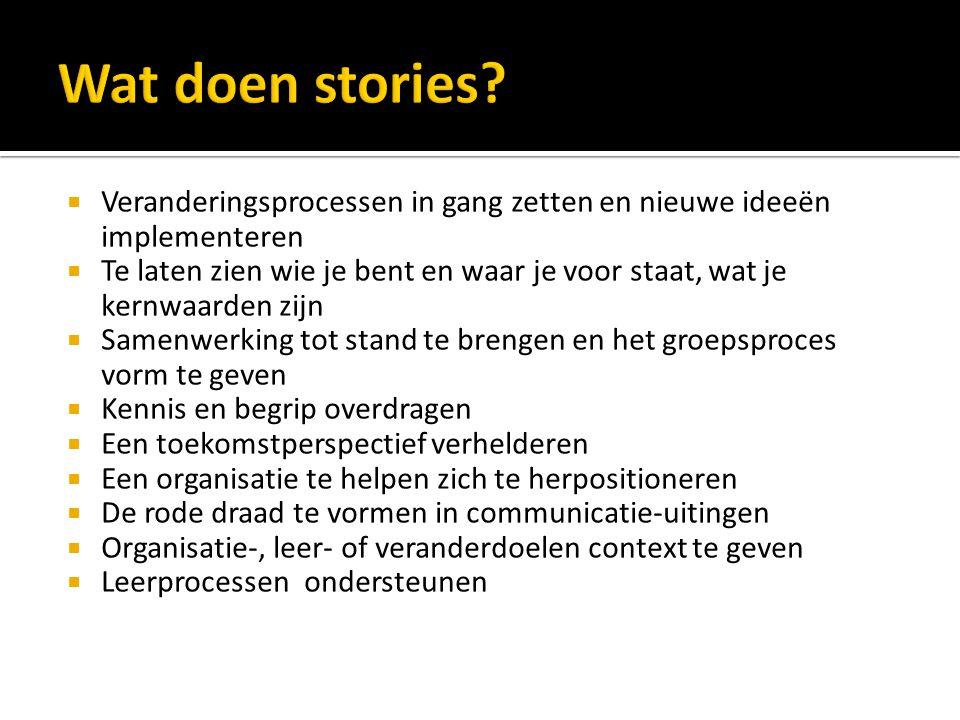Wat doen stories Veranderingsprocessen in gang zetten en nieuwe ideeën implementeren.
