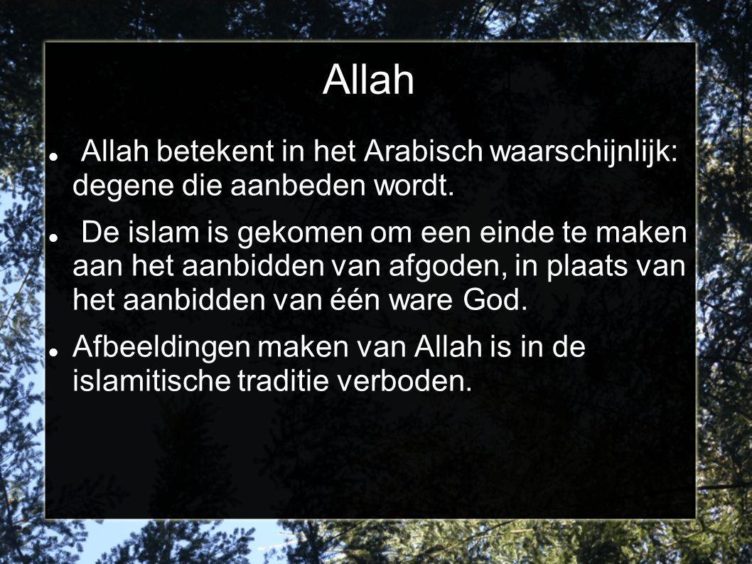 Allah Allah betekent in het Arabisch waarschijnlijk: degene die aanbeden wordt.
