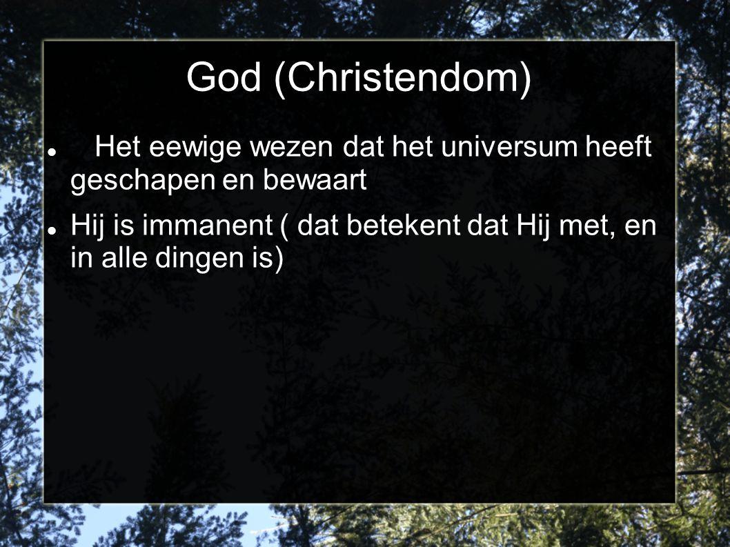 God (Christendom) Het eewige wezen dat het universum heeft geschapen en bewaart.