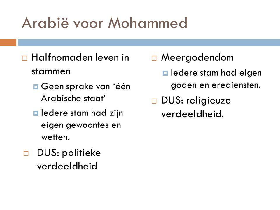 Arabië voor Mohammed Halfnomaden leven in stammen