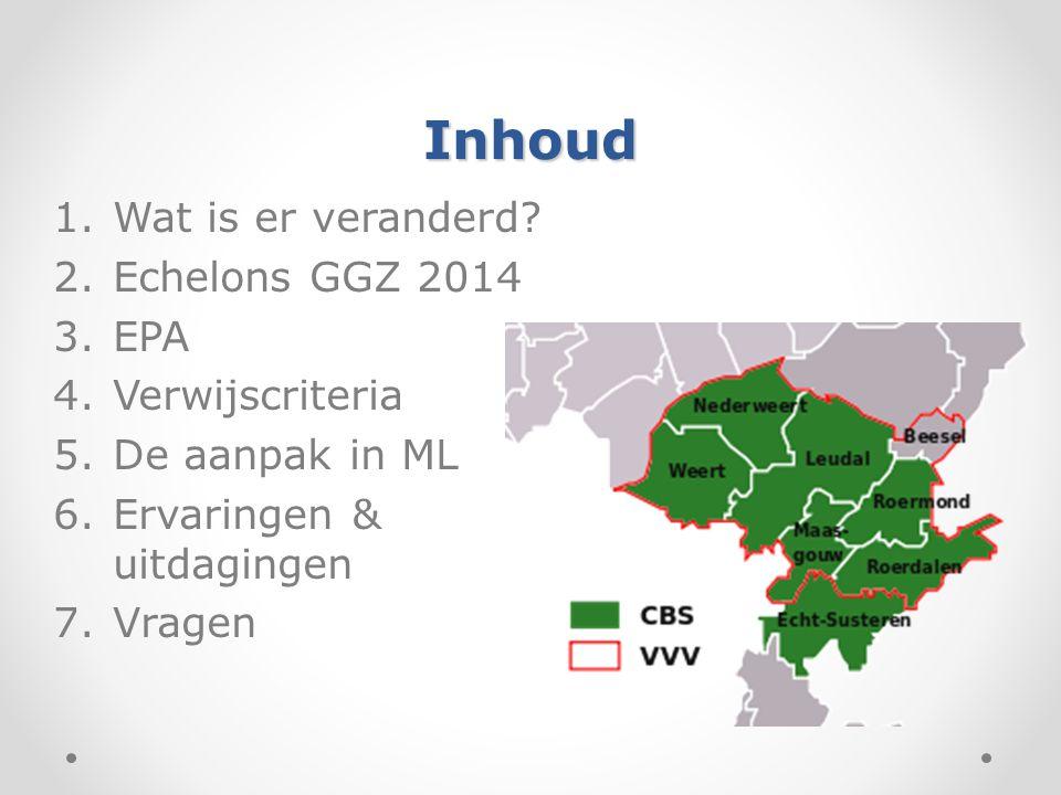 Inhoud Wat is er veranderd Echelons GGZ 2014 EPA Verwijscriteria