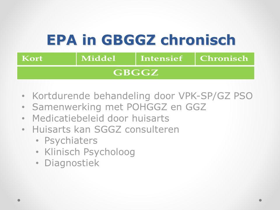 EPA in GBGGZ chronisch Kortdurende behandeling door VPK-SP/GZ PSO. Samenwerking met POHGGZ en GGZ.