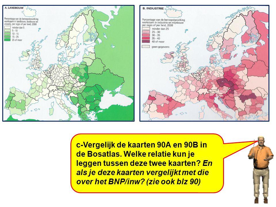 c-Vergelijk de kaarten 90A en 90B in de Bosatlas