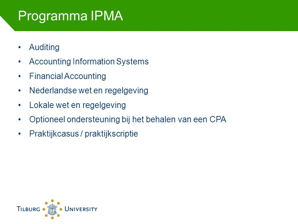 Programma IPMA Auditing Accounting Information Systems