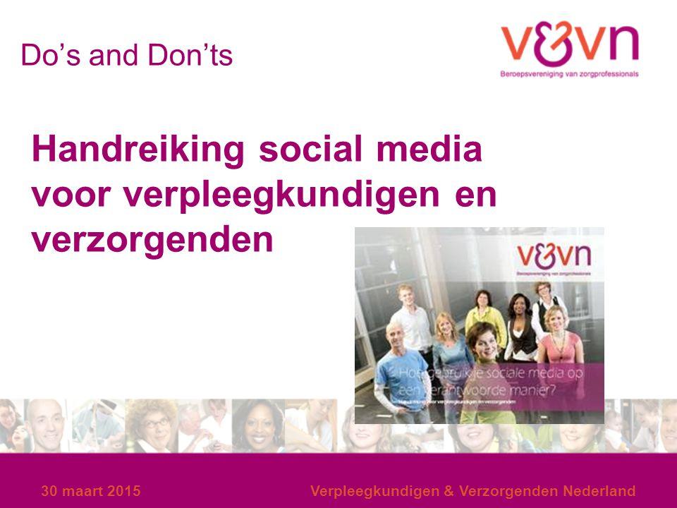 Handreiking social media voor verpleegkundigen en verzorgenden