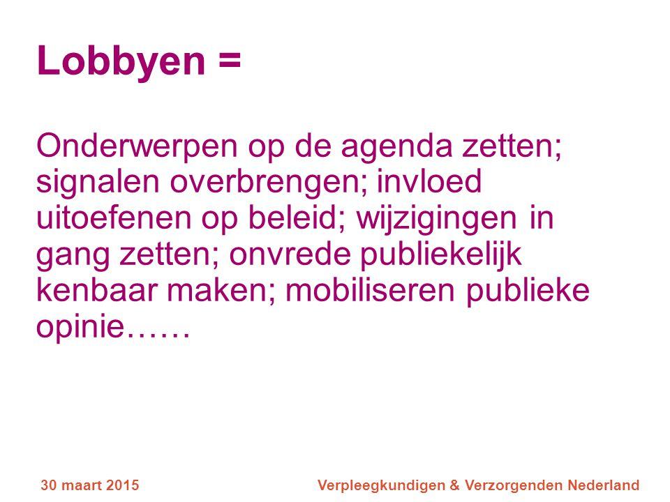 Lobbyen = Onderwerpen op de agenda zetten; signalen overbrengen; invloed uitoefenen op beleid; wijzigingen in gang zetten; onvrede publiekelijk kenbaar maken; mobiliseren publieke opinie……