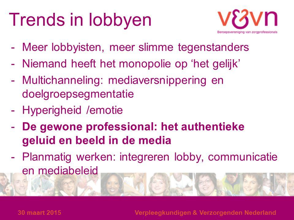 Trends in lobbyen Meer lobbyisten, meer slimme tegenstanders