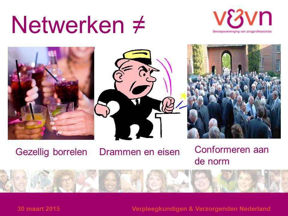 Netwerken ≠ Conformeren aan de norm Gezellig borrelen Drammen en eisen