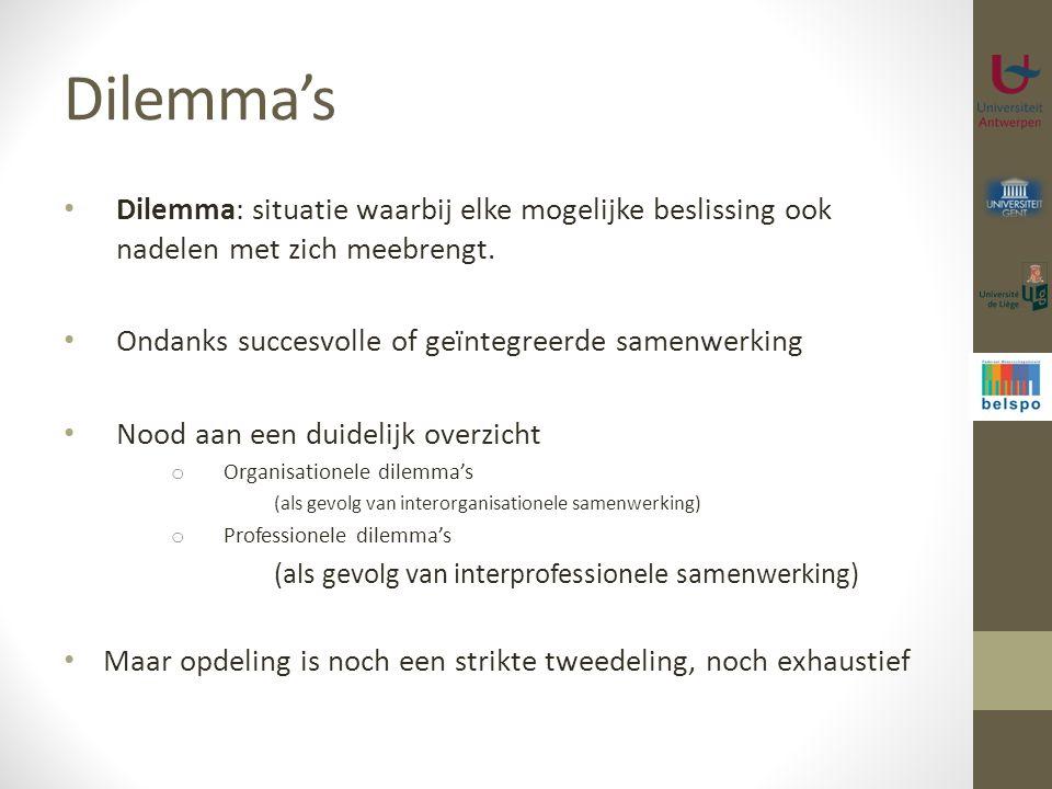 Dilemma's Dilemma: situatie waarbij elke mogelijke beslissing ook nadelen met zich meebrengt. Ondanks succesvolle of geïntegreerde samenwerking.