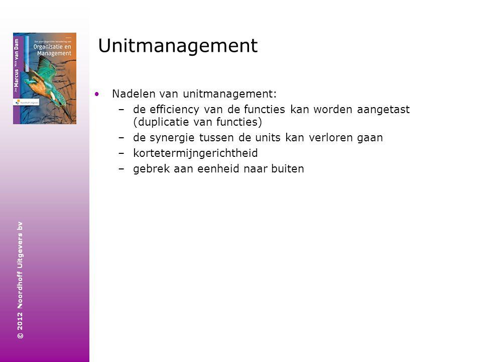 Unitmanagement Nadelen van unitmanagement: