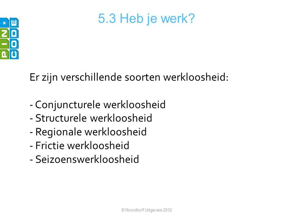 5.3 Heb je werk Er zijn verschillende soorten werkloosheid: