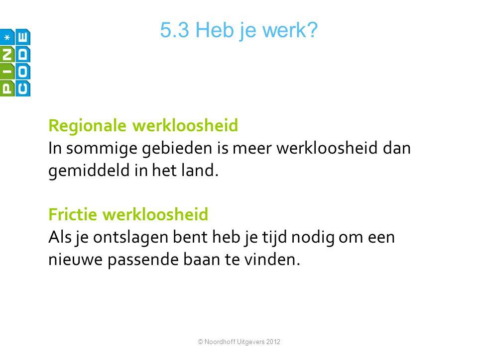 5.3 Heb je werk Regionale werkloosheid