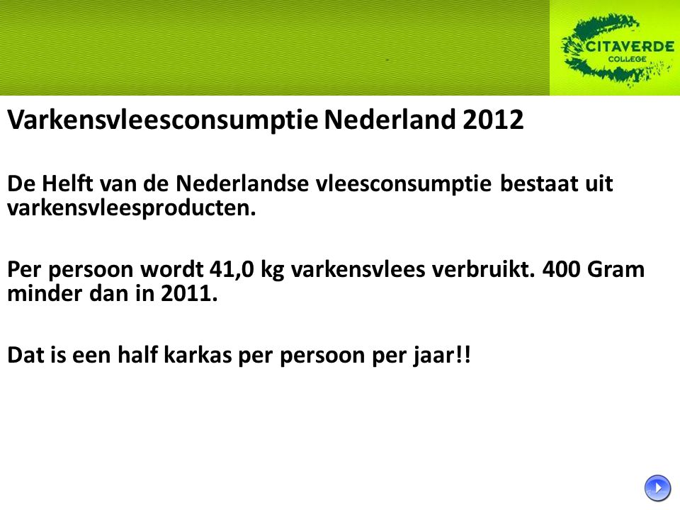 Varkensvleesconsumptie Nederland 2012