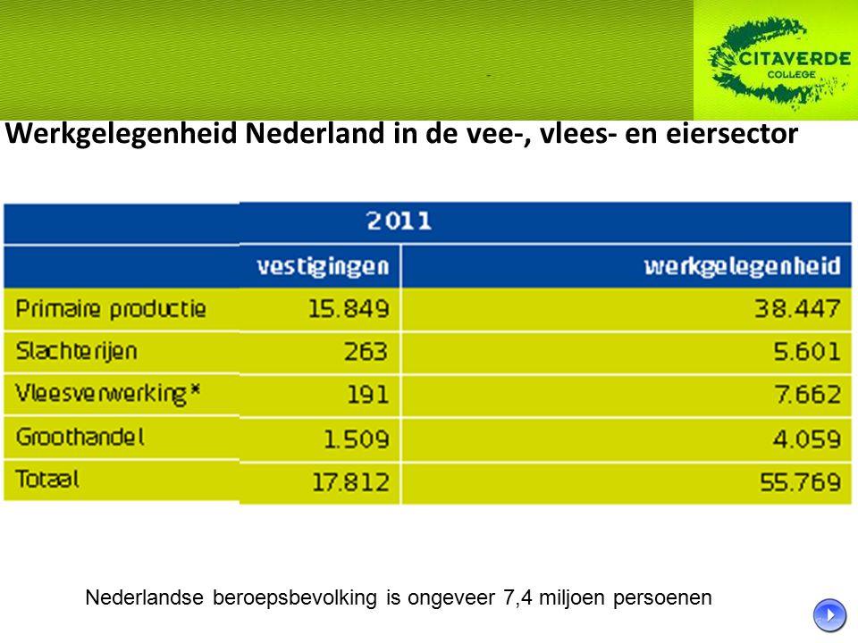 Werkgelegenheid Nederland in de vee-, vlees- en eiersector
