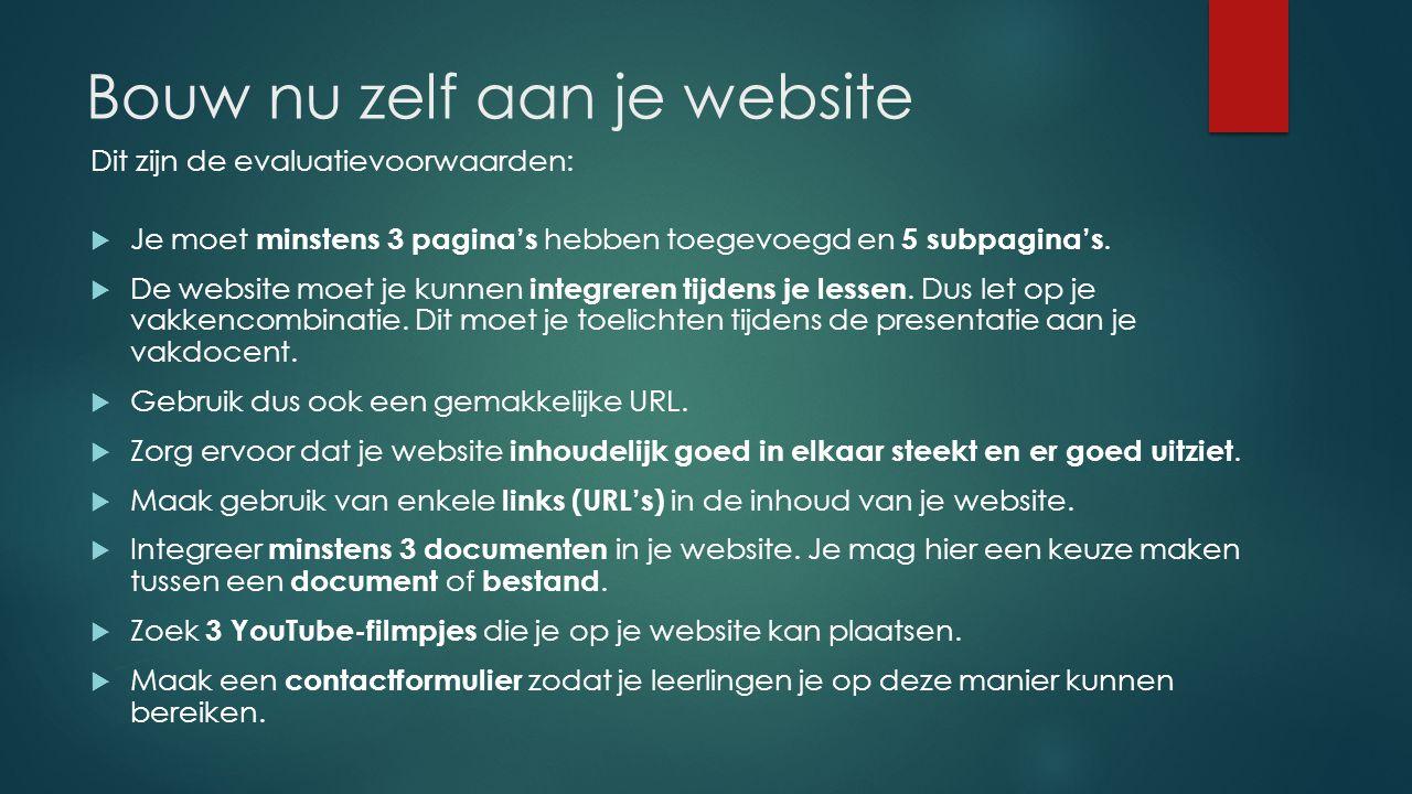 Bouw nu zelf aan je website