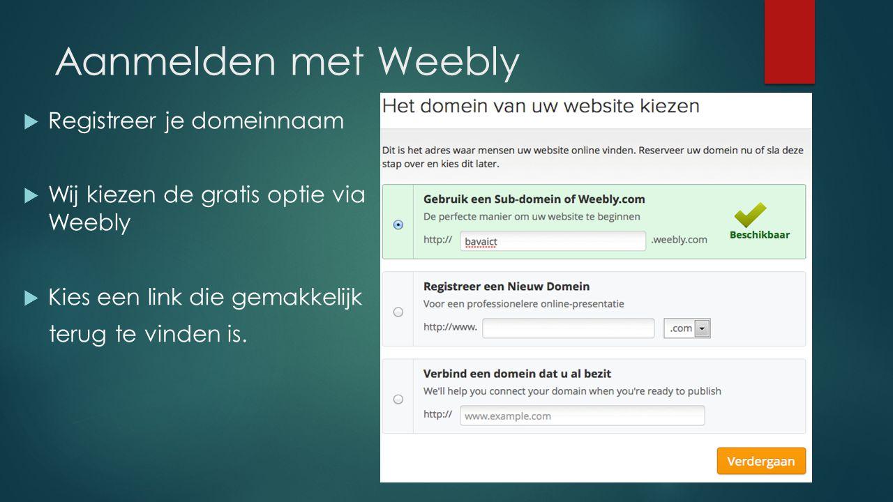 Aanmelden met Weebly Registreer je domeinnaam