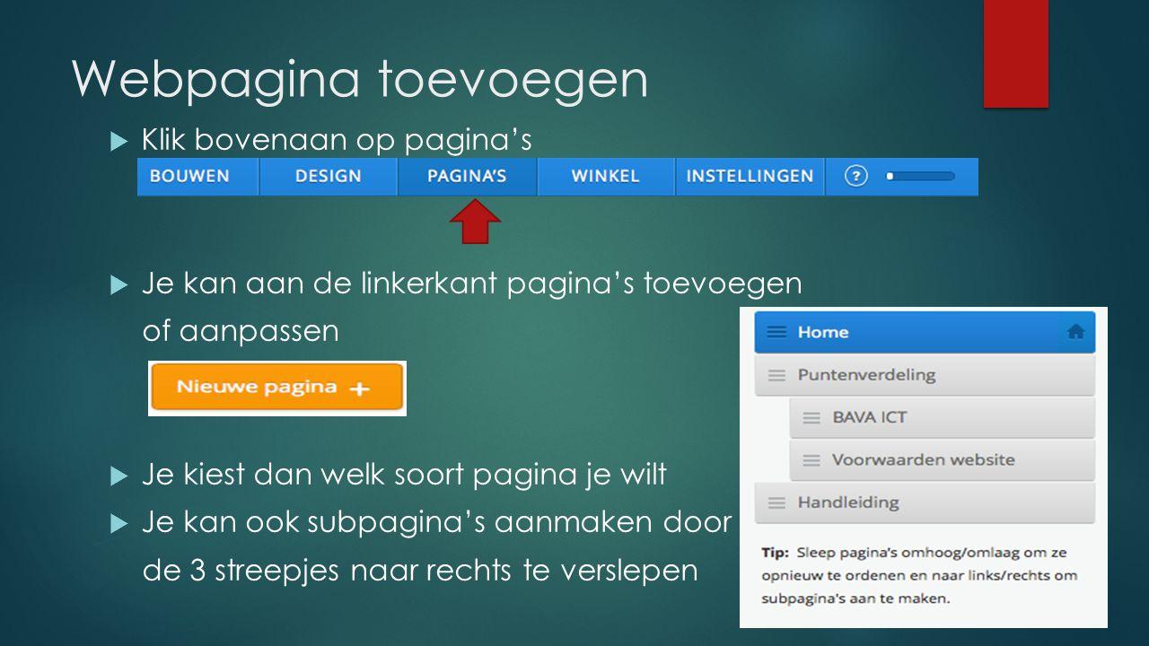 Webpagina toevoegen Klik bovenaan op pagina's