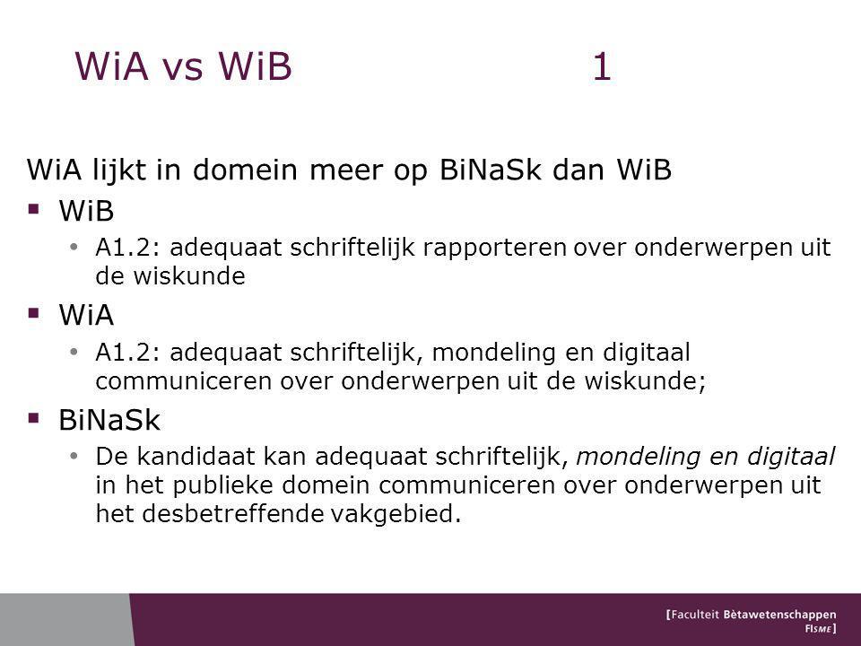 WiA vs WiB 1 WiA lijkt in domein meer op BiNaSk dan WiB WiB WiA BiNaSk