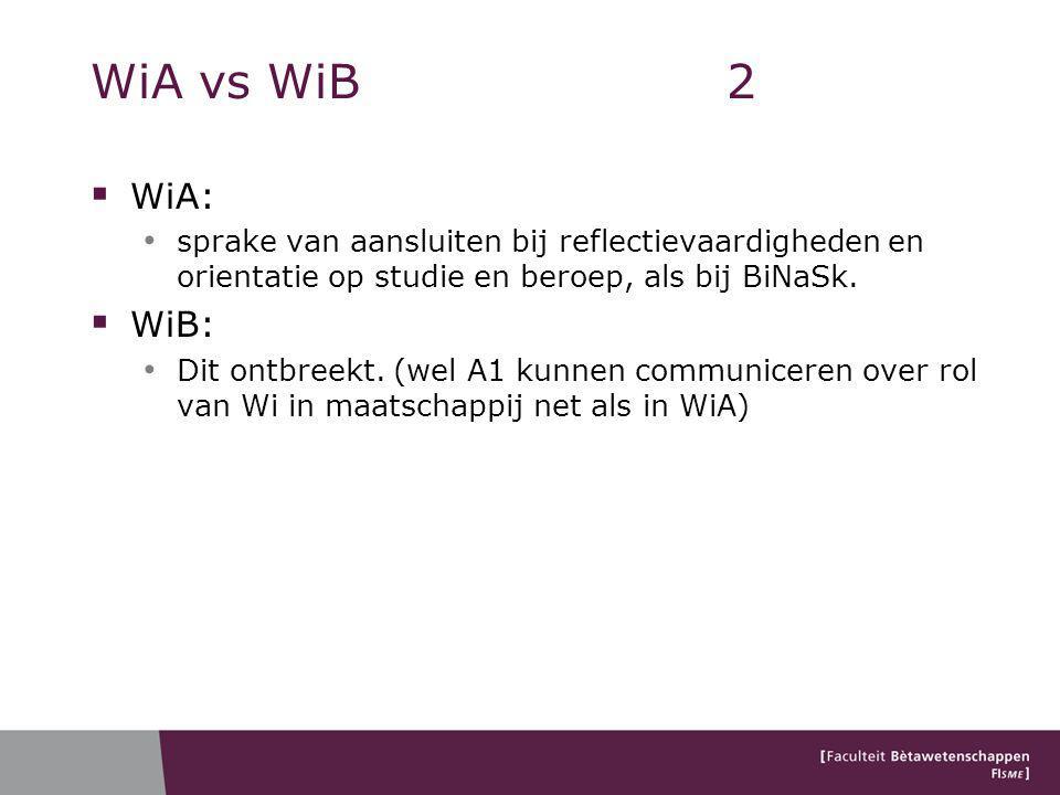 WiA vs WiB 2 WiA: sprake van aansluiten bij reflectievaardigheden en orientatie op studie en beroep, als bij BiNaSk.