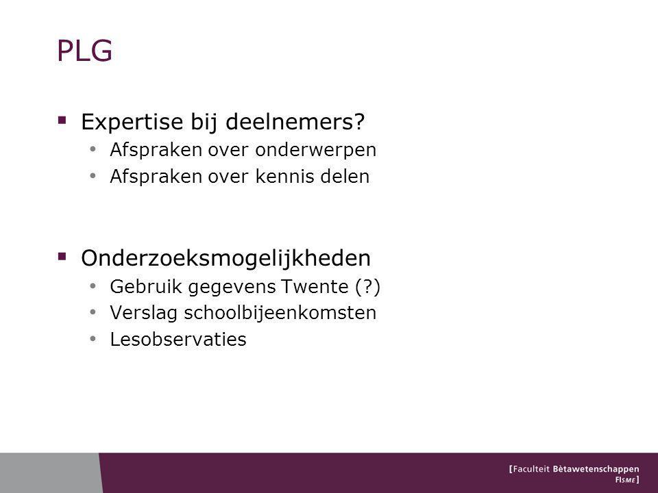 PLG Expertise bij deelnemers Onderzoeksmogelijkheden