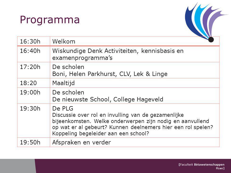 Programma 16:30h. Welkom. 16:40h. Wiskundige Denk Activiteiten, kennisbasis en examenprogramma's.