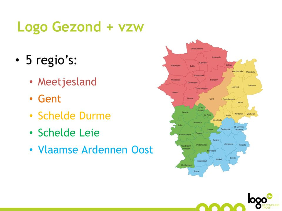 Logo Gezond + vzw 5 regio's: Meetjesland Gent Schelde Durme