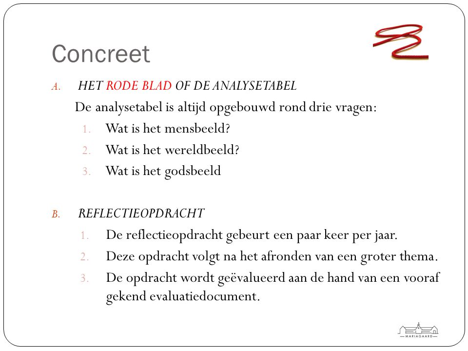 Concreet Het rode blad of de analysetabel
