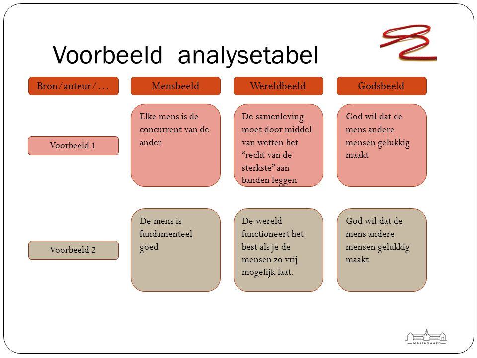 Voorbeeld analysetabel