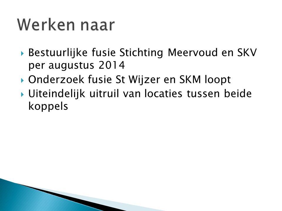 Werken naar Bestuurlijke fusie Stichting Meervoud en SKV per augustus 2014. Onderzoek fusie St Wijzer en SKM loopt.