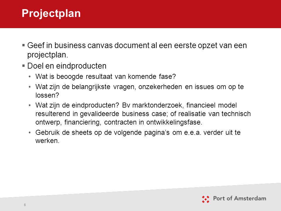 Projectplan Geef in business canvas document al een eerste opzet van een projectplan. Doel en eindproducten.