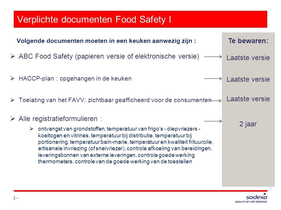 Verplichte documenten Food Safety I