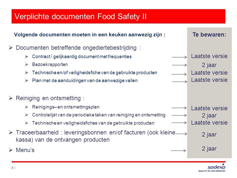 Verplichte documenten Food Safety II