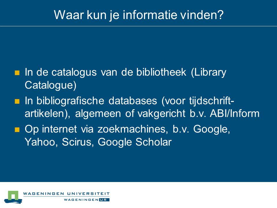 Waar kun je informatie vinden