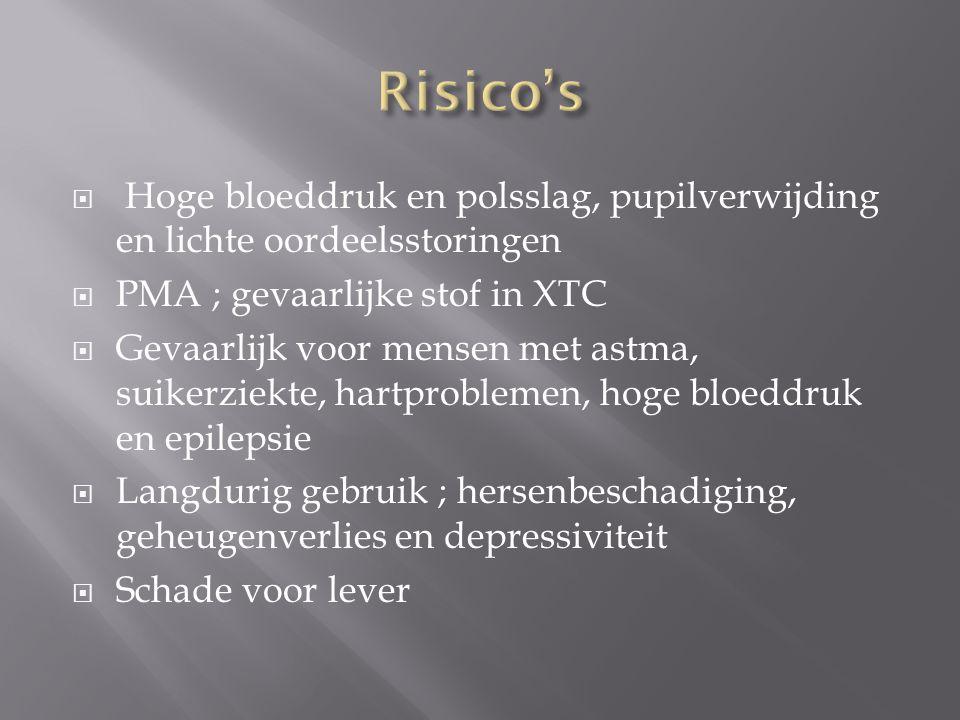 Risico's Hoge bloeddruk en polsslag, pupilverwijding en lichte oordeelsstoringen. PMA ; gevaarlijke stof in XTC.