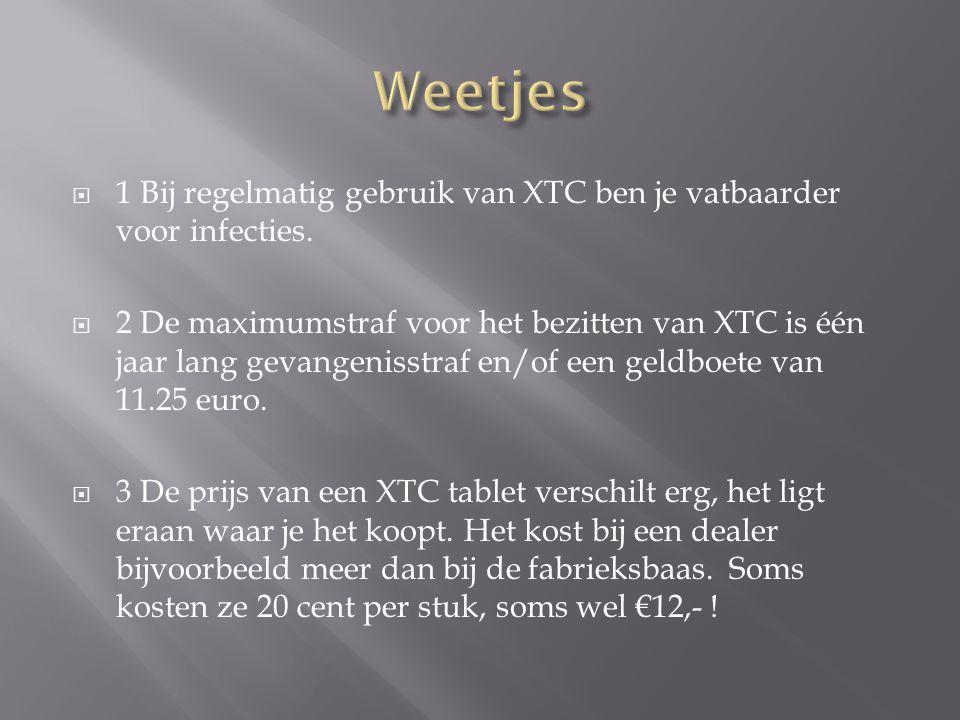 Weetjes 1 Bij regelmatig gebruik van XTC ben je vatbaarder voor infecties.