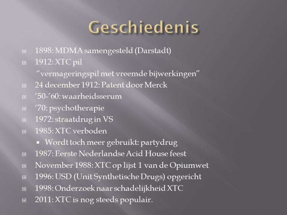 Geschiedenis 1898: MDMA samengesteld (Darstadt) 1912: XTC pil