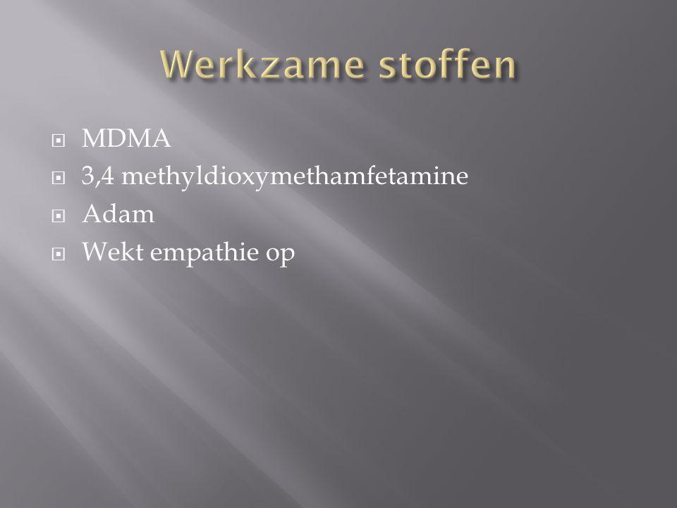 Werkzame stoffen MDMA 3,4 methyldioxymethamfetamine Adam