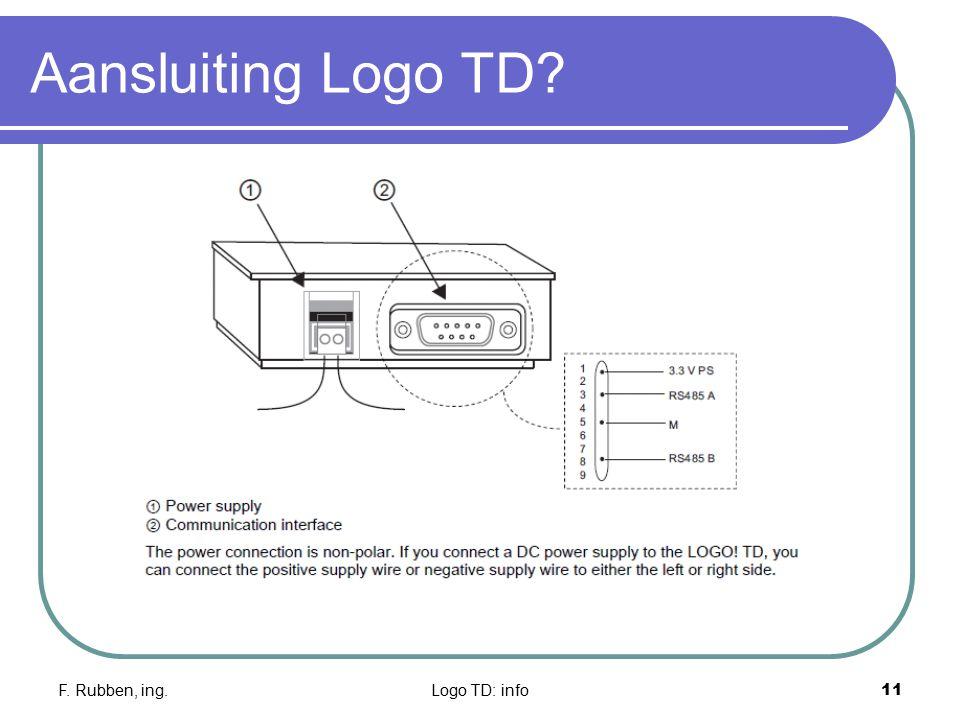 Aansluiting Logo TD F. Rubben, ing. Logo TD: info