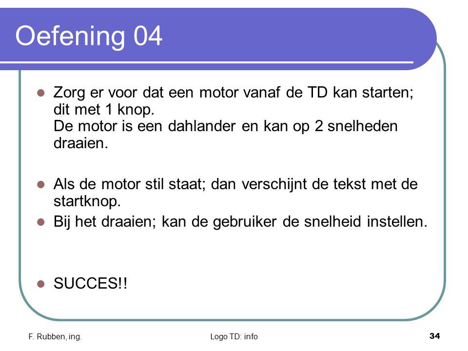 Oefening 04 Zorg er voor dat een motor vanaf de TD kan starten; dit met 1 knop. De motor is een dahlander en kan op 2 snelheden draaien.