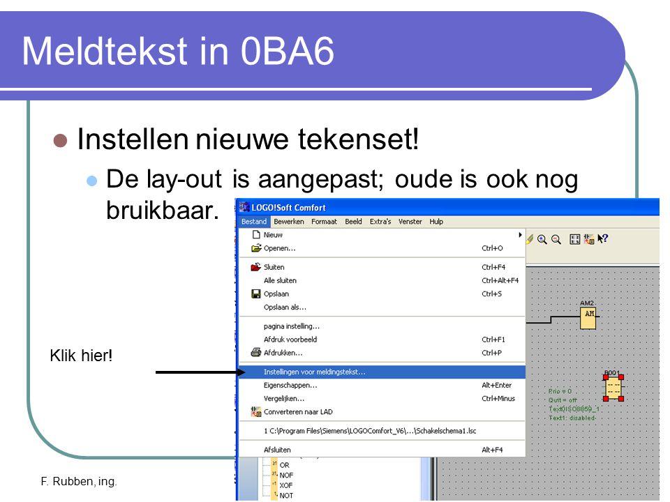Meldtekst in 0BA6 Instellen nieuwe tekenset!