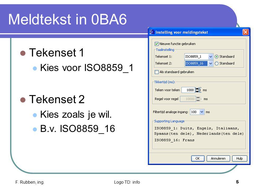 Meldtekst in 0BA6 Tekenset 1 Tekenset 2 Kies voor ISO8859_1