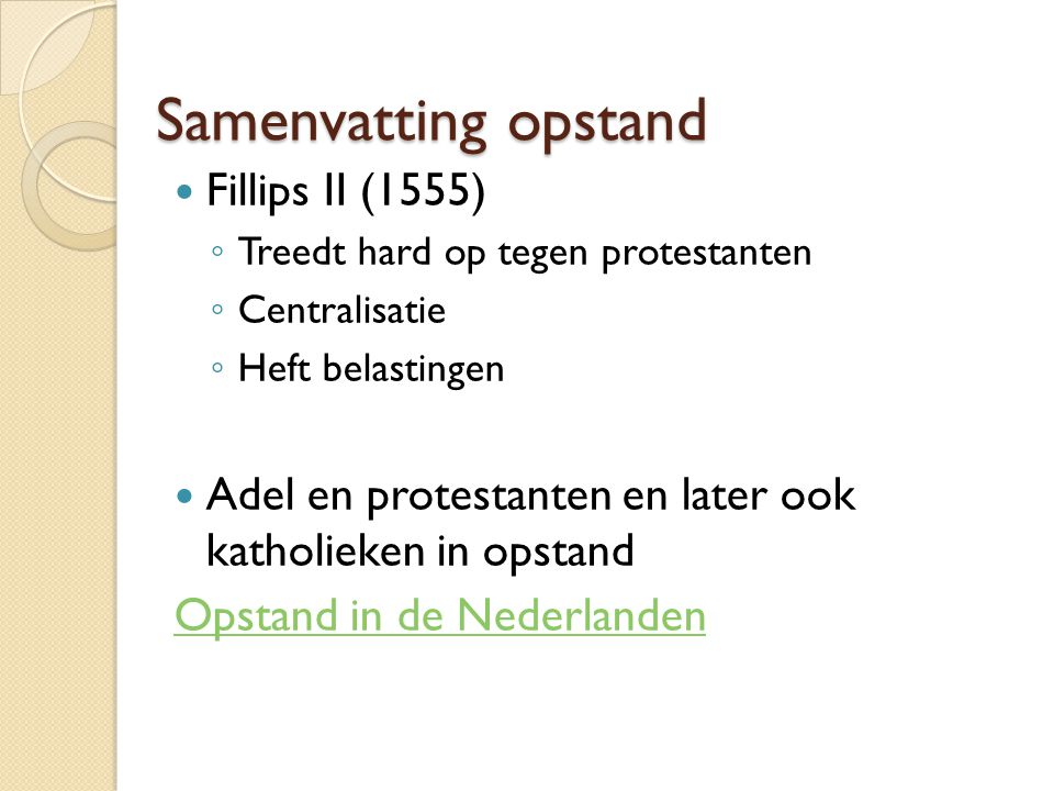 Samenvatting opstand Fillips II (1555)